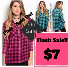 Sheer checkered top! SO cute buttoned up or open with a tank or tee underneath.     1⃣Medium - Green left!!    Med fits 8/10    FREE US Shipping!! 💗💗 | Shop this product here: http://spreesy.com/theglamshackboutique/50 | Shop all of our products at http://spreesy.com/theglamshackboutique    | Pinterest selling powered by Spreesy.com