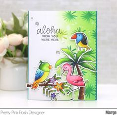 Marge here with you to share my cards featuring the new stencils along with other new stamps/dies from the June Release. We have four new stencils and I'm going t… Leaf Stencil, Stencils, Pretty In Pink, Happy Sunshine, Tropical Background, Copic Art, Little Critter, Flower Stamp, Bird Cards