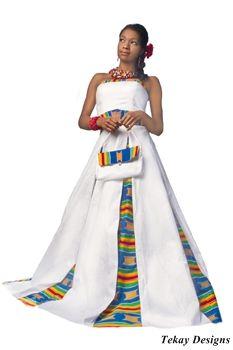 Cute! My Ghanaian family would LOVE this -- Kente Cloth - Wedding Dress