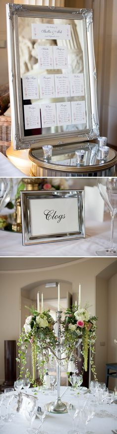 Mirror and frame wedding seating plans table plans mirrored table