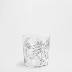 Flowers Detail Glass Tumbler, $2.90, Zara Home. It looks vintage, and Skip's favorite sources for carts and accessories are vintage and antique shops.