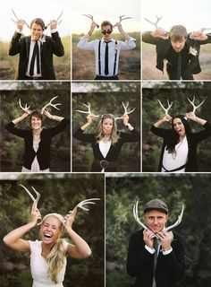 antlers as photobooth props   how to incorporate antler details in your wedding by oh lovely day