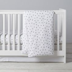 Silver Dot Crib Bedding  | The Land of Nod