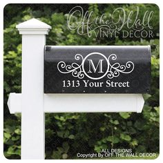 Vinyl Mailbox Lettering Decal Includes 2 decals one for each side of your mailbox and 1 set of numbers for the door of the mailbox Leave Note to Seller with the following: Initial & Address