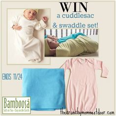 #WIN a Bamboosa cuddlesac & swaddle set! Ends 11/24 SOFTEST organic baby items!! #giveaway #baby #babies #moms #clothes #blankets