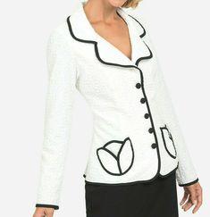 Joseph Ribkoff White Black Textured Stretch Knit Button Front Jacket 192473 New