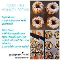 What's better than monkey bread? This recipe is amazing! And the mini cake pan from pampered chef is perfect for making these little breads! So yummy! To get YOUR mini cake pans click the link in my bio! Pampered Chef Cake Recipe, Pampered Chef Desserts, Pampered Chef Party, Mini Pie Recipes, Cooking Recipes, Mini Monkey Bread, Breakfast Recipes, Dessert Recipes, Single Serving Recipes