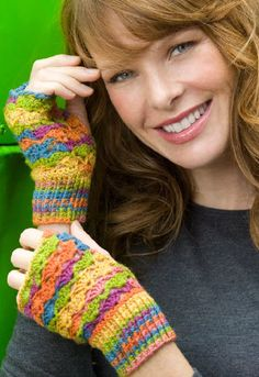 Red Heart® Lace Fingerless Mitts  #crochet #pattern