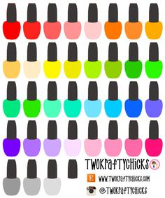 36 Bright Multi Colored Nail Polish Planner Stickers