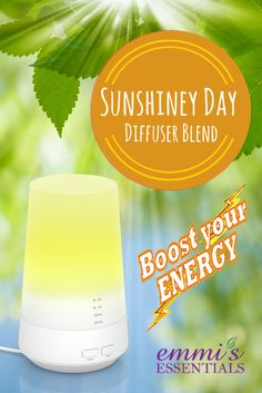 Boost your energy with Emmi's Essentials Sunshiney Day Blend. 4 drops Wild Orange 4 drops Peppermint If you want to fill your home with this delicious aroma, don't wait. Get your Emmi's Essential mini diffuser now!