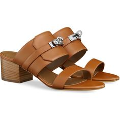 Hermès Sandals leather ($1,075) ❤ liked on Polyvore featuring shoes, sandals, buckle shoes, real leather shoes, mid-heel sandals, miniature shoes and stacked heel shoes