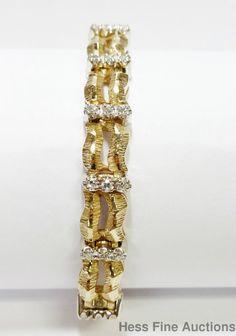 Mid century 1.25ctw  Diamond Heavy 14K Gold textured Freeform Ladies Bracelet  #Tennis