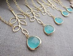 SET of 6 Bridesmaid Necklaces Simple Leaf with Sea Foam Mint Green Mint Opal Glass Drop Necklace. $142.80, via Etsy.