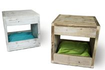Gorgeous cat hideaways made from reclaimed wood.  Comfy looking, too!