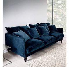 Nice feet on this navy blue velvet sofa-image Canapé fixe en velours, LAZARE AM. New Living Room, Living Room Sofa, Living Room Interior, Living Room Decor, Interior Livingroom, Apartment Interior, Apartment Design, Apartment Living, Apartment Couch