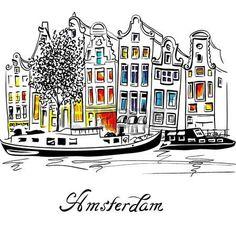 grachtenpanden: Uitzicht op de stad van de Amsterdamse gracht, typische Nederlandse huizen en boten, Holland, Nederland. Stock Illustratie