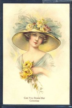 QD190-CAN-YOU-RESIST-HER-CELESTINE-FEMME-Grand-CHAPEAU-ROSES-Jaunes-Belle-LITHO