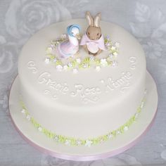 This delicate and pretty Beatrix Potter cake with Jemima Puddle Duck and Flopsy Bunny and is perfect for birthdays and christenings and available in Edinburgh and Glasgow Bunny Birthday Cake, Girls 1st Birthday Cake, Birthday Ideas, Baby Girl Christening Cake, Beatrix Potter Cake, Dedication Cake, Peter Rabbit Cake, Cake Online, Girl Cakes