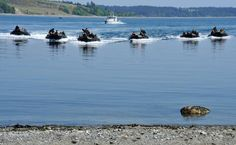 Sailors with the Royal Canadian Navy navigate rigid hull inflatable boats carrying soldiers from the Royal 22nd Regiment, to conduct a beach landing near Canadian Forces Base Esquimalt, British Columbia during Exercise TRIDENT FURY 13 on May 9, 2013.