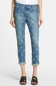Women's Stella McCartney Zigarette Embroidered Skinny Boyfriend Jeans