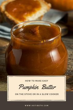 This easy pumpkin butter recipe is made with fresh or canned pumpkin puree. You can make it in under an hour on the stove or in a slow cooker. Jam Recipes, Canning Recipes, Recipes Dinner, Crockpot Recipes, Canned Pumpkin Recipes, Homemade Desserts, Pumpkin Spice, Vegan Pumpkin, Pumpkin Puree