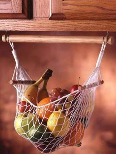 Under Cabinet Fruit & Veggie Hammock - Prodyne Enterprises - Space Savers - Camping World Would love one of these for the camper Kombi Motorhome, Rv Campers, Camper Trailers, Travel Trailers, Camper Life, Small Campers, Rv Trailer, Teardrop Trailer, Pod Camper