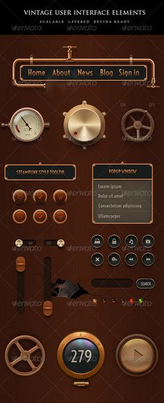 ◃ [Get Nulled]◖ Vintage Steampunk UI Set App Copper Golden Graphical User Interface Gui Icon Game Ui Design, Ui Ux Design, Graphic Design, Game Interface, User Interface Design, Steampunk, Cyber Monday, Ui Buttons, 404 Pages