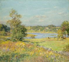 """""""The Breath of Autumn (Waterford, Connecticut),"""" Willard Leroy Metcalf, 1915, oil on canvas, 26 x 29"""", Wadsworth Atheneum."""
