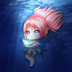 ❤️ deep under the sea, there are tales of a magical glowing orb that will give anyone who holds it whatever they dream of. Chibi Kawaii, Cute Anime Chibi, Anime Girl Cute, Kawaii Anime Girl, Anime Art Girl, Cute Kawaii Drawings, Anime Girl Drawings, Cute Animal Drawings, Dibujos Anime Chibi