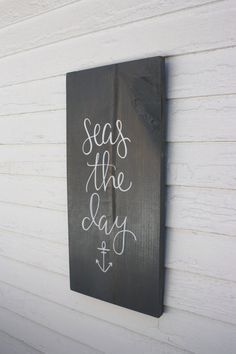 Seas the Day Wood Sign Custom Wood Sign by palaceandjames - Wood Diy Custom Wood Signs, Rustic Signs, Wooden Signs, Rustic Wood, Rustic Decor, Farmhouse Decor, Beach Bathrooms, Ocean Bathroom Themes, Anchor Bathroom