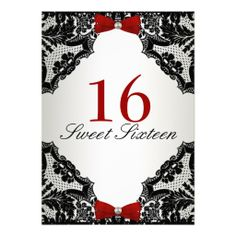Red, white and Black lace Sweet 16 Personalized Invitation