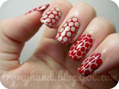 "Barbara & 28 Days of Red - Day 24 ""Nail Art Inspiration"" Feather Nail Designs, Anchor Nail Designs, Valentine's Day Nail Designs, Fingernail Designs, Red Nail Art, Nail Polish Art, Red Nails, Nail Stamping Designs, Palm Tree Nails"