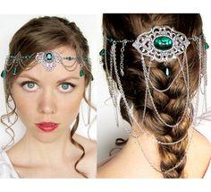 Green and Silver Elven Circlet Headdress by BeasleysWonders, $165.00 Arwen, lotr, wedding, crown, tiara, adult, costume, Halloween, goddess