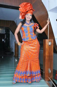 Orange African mono sleeve top with flared skirt ~Latest African Fashion, African Prints, African fashion styles, African clothing, Nigerian style, Ghanaian fashion, African women dresses, African Bags, African shoes, Kitenge, Gele, Nigerian fashion, Ankara, Aso okè, Kenté, brocade. ~DK