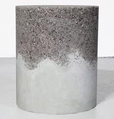 AMMA's drum revels in the unexpected. Crafted out of cement and rock salt, this piece is modern and chic in its refined starkness. An effortlessly stylish side table, stool or décor element. Concrete Casting, Concrete Cement, Concrete Projects, Concrete Design, Concrete Finishes, Outdoor Furniture Design, Concrete Furniture, Papercrete, Do It Yourself Furniture