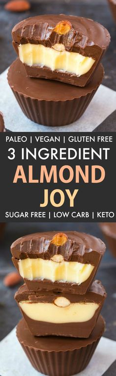 Healthy 3 Ingredient Sugar Free Almond Joy Cups made with just three ingredients and ZERO baking! Paleo, vegan, gluten free! - thebigmansworld.com