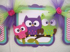 owl family baby shower banner its a girl por