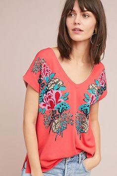 Floral V-Neck Pullover