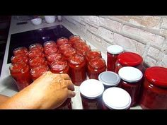 Reteta Rosii in suc propriu pentru iarna - YouTube Hot Sauce Bottles, Preserves, Pickles, Pudding, Desserts, Recipes, Food, Youtube, Drinks