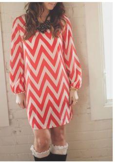 Red chevron dress. I really want a chevron dress.