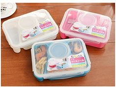 Bento Lunch Box Fully Sealed Food 4-compartment Bento Box Soup Bowl With Plastic Scoop Pratos Microwave Meal