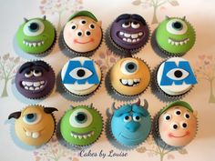 Monsters Inc & Monsters University are no doubt two of the most iconic disney pixar films to date. The amount of hours that have gone into achieving the perfect movement for textures. Monster Cupcakes, Monster University Cupcakes, Monster University Birthday, Monster Inc Cakes, Monster 1st Birthdays, Monster Birthday Parties, Birthday Treats, Birthday Cupcakes, Boy Birthday