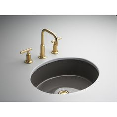 KOHLER Verticyl Thunder Grey Undermount Oval Bathroom Sink with Overflow
