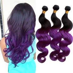 "5Bundles 250g 10""-30"" Purple Color Real Human Hair Extension Body Wave Hair Weft #WIGISS"