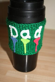 Knitted cup cuff. Felt tees and Dad. Golf mad dad gift.