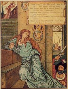 Bluebeard - Walter Crane - Definitely the scariest fairy tale. Bluebeard kills several of his wives and hides their bodies in a room! Actually, we'd say it's not so much a fairy tale as the first episode of Criminal Minds. This really gets that across, doesn't it? With her crawling up the stairs and him coming after her with a sword?
