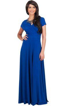 7e05118a902 Womens Long Sexy Cap Short Sleeve V-neck Flowy Evening Bridesmaid Maxi Dress  Cap