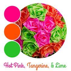 Pink, orange, and green wedding colors by www.bridesbouquetsandbeyond.com