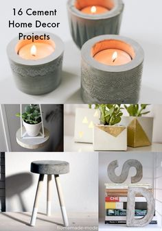 16 cement DIY home decor projects - 16 proyectos DIY de decoración con cemento.