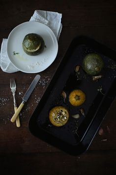 Stuffed eight ball zucchini with millet, olives and creamy goat cheese (via Our Food Stories)